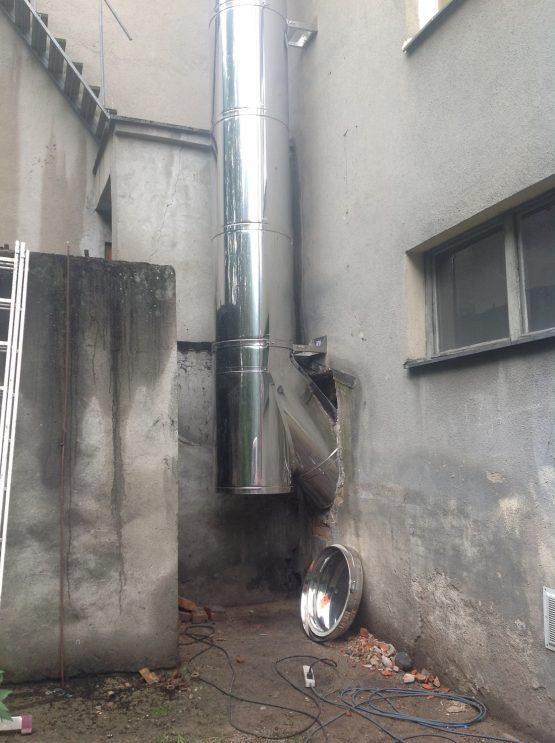 Montaż komina izolowanego do kotła na węgiel